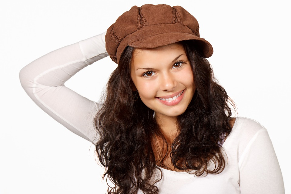 Healthy Isolated Happy Beautiful Female Face Girl